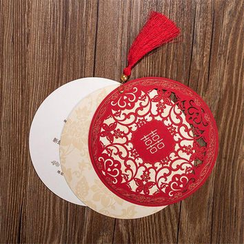 15.4cm Chinese Style Wedding Invitations Card Diameter Floral Design Envelope Pure Love Red White Elegant Round Party Supplies