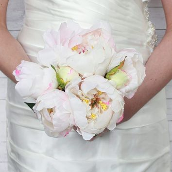 "Peony Silk Bridal Bouquet in Cream White - 14"" Tall"