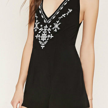 Black Embroidered V-Neck Criss Cross Back Romper Playsuit