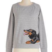 ModCloth Quirky Mid-length Long Sleeve Only You Know Hound Sweatshirt