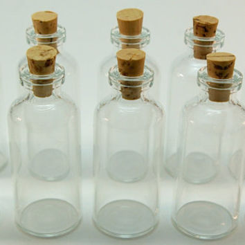 20 Mini Glass 10 ml Bottles with Corks for Favors, Message in a Bottle, Pendants, Dollhouse, Perfume, Samples, Collectibles
