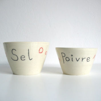 Salt and Pepper Ceramic Cellars Sel Poivre French words Wheel thrown pottery Kitchen decoration - ready to ship