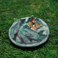 Monarch butterfly Cute tiny ring dish handmade pottery