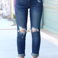 Ripped Higher Rise Boyfriend Skinny Jeans {Dark Wash}
