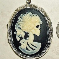 SKELETON Skull Lady CAMEO Pendant LOCKET Necklace | Luulla