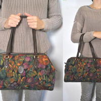 Floral Tapestry Doctor Bag / speedy Purse Satchel