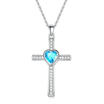 Sunflower Jewellery Birthstones Cross Necklace Heart Crystal Pendant Necklace For Women Girls