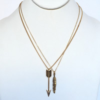 Take Me There Arrow & Feather Necklace In Gold