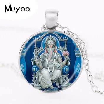 Lord Ganesh Ganesha Necklace God of Fortune Pendant Hindu Elephant Necklace Buddha Meditation Spiritual Jewelry  Necklace HZ1