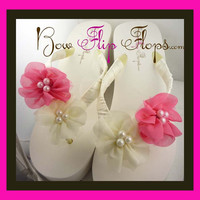 Wedding Flip Flops - Ivory Hot Pink Chiffon Flowers with Pearl Accents - Bride Satin Wedge - Bridesmaid Platform Satin -Flip Flop Sandals