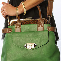 The Satchel with Leopard Interior in Green