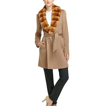 Wool Wrap Coat with Rabbit Fur - Brooks Brothers