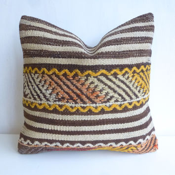Kilim Pillow Cover with Brown and Cream Stripes