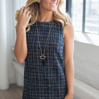 Metallic Tweed Shift Dress - Navy Multi