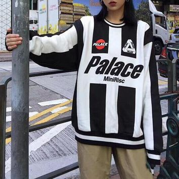 """""""Palace"""" Unisex Retro Multicolor Stripe Letter Long Sleeve Oversize Sweater Couple All-match Street Casual Tops"""