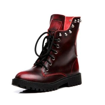 Fashion Spring Genuine Leather Skull Ankle Women Boots  Brand quality Black Women shoes  rivet  female Martin boots