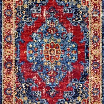 2215 Blue Red Distressed Persian Oriental Area Rugs