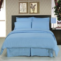 Solid Blue 8-Piece Bedding Set Super Soft Microfiber Sheets+Duvet+Alternative