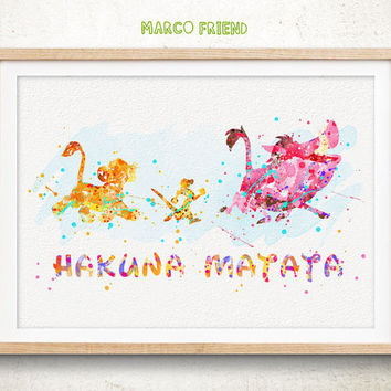 Lion King Poster - Watercolor Art Print, Room Decor, Disney HAKUNA MATATA Poster, Home Baby Nursery Wall Art