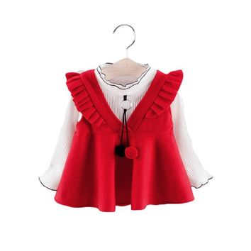 New children Autumn Korean design clothes set girls shirt+Outwear dress 2pc/set infant spring one-piece baby wear