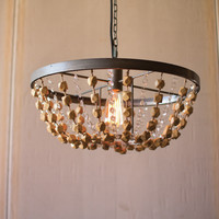 Round Metal Basket Pendant Light with Wooden Beads Detail