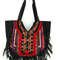 Leather Fringe Hand Bag , Real Leather Fringe Hand Bag , Vintage Banjara Bag , Black Colour Fringe Handbag , Gypsy Banjara Hand Bags