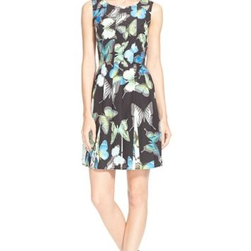 Women's Ted Baker London 'Engrid' Butterfly Print Pleated Dress,