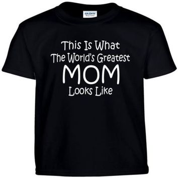 This is Worlds Greatest MOM Letters Print Women T shirt Cotton Casual Funny Shirt For Lady Black Gray Top Tee Hipster T-86