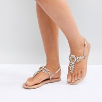 ASOS DESIGN Wide Fit Fairlight leather embellished flat sandals at asos.com