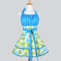 Flirty Chic Apron , Chrysanthemum Greens and Blues Two Layer Skirt Cute Flirty Sexy Retro Womens Apron