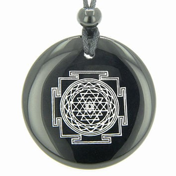 Sri Yantra Chakra Talisman Black Agate Magic Pendant Necklace