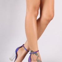 Floral Brocade Ankle Strap Cylindrical Clear Heel