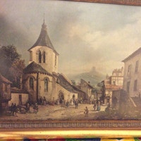 Vintage Oil Painting Print old village scene