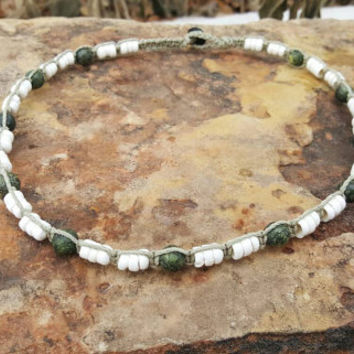Mens Hemp Necklace, Handmade, Puka Shell Necklace, Serpentine Beads, Gift for Him, Mens Jewelry, Hemp Jewelry, Gift, Surfer Necklace, Hemp