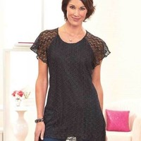 Women's Black Lace Sharktail Hem Top Blouse Short Sleeve Stylish Medium 10/12