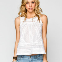 Patrons Of Peace Eyelet Womens Flyaway Top White  In Sizes