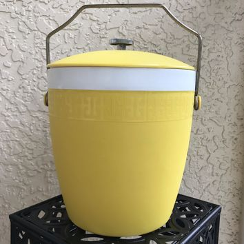 OLYMPIAN THERMOWARE Yellow White And Gold Ice Bucket With Lid