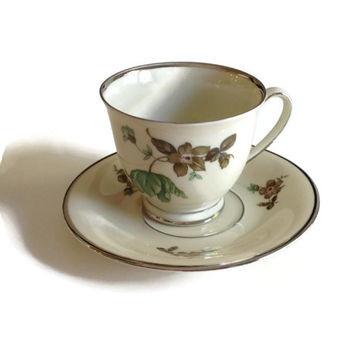 KPM Tea Cup and Saucer, Porcelain Tea Cup and Saucer,  KPM Green Vallo Pattern, Collectible Teacup, Vintage Demitasse Cup