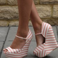 Pink/white  wedge sandal (Candy) from Chockers Shoes