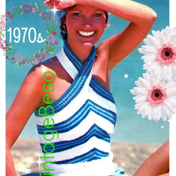DIGITAL PATTERN • Halter Top KNITTING Pattern • Vintage 1970s • Criss Cross Stripe Summer Top • Sleeveless • Backless Summer • PdF Pattern