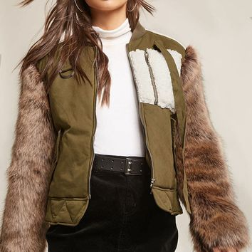 SHACI Faux Fur Bomber Jacket