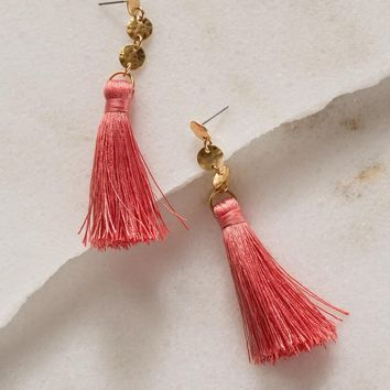 Samantha Fringe Earrings - Coral