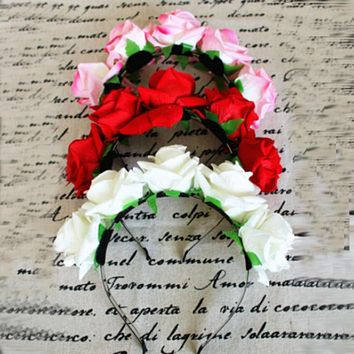 Sweet Women Girls Rose Flower Garland Hair Head Band Crown For Bride Flower New SL34