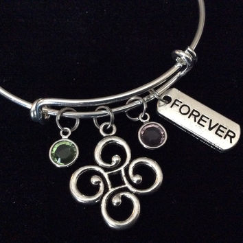 Custom Path of Life and Birthstone Charms on a Silver Expandable Wire Bangle Bracelet Gift Adjustable Trendy Handmade in USA