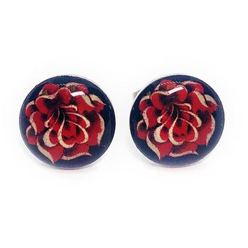 ON SALE - Gold Rose Enamel Button Stud Earrings