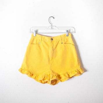Bright Yellow Denim Shorts, 80s Shorts, 90s Shorts, Ruffled Hem, High Waisted Shorts, Mom Shorts, Colored Denim, Short Shorts, Jean Shorts