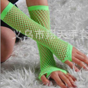 New Crochet Lace Punk Gothic Disco Costume Long Fishnet Dance Mesh Fingerless Gloves