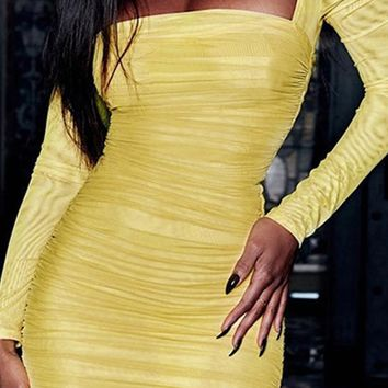 Fast Track Yellow Mesh Long Sleeve Square Neck Ruched Bodycon Mini Dress