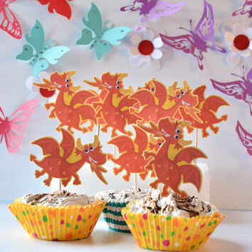 12 Dragon Cake Toppers - Dragon Party - Baby Shower Decoration - Dragon Birthday Cake Toppers - Dragon Baby Shower Cupcakes