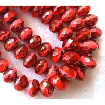 Lot of 25Czech glass puffy faceted rondelle beads, 5 x 7mm opaque & transparent bright coral red picasso rondelles, C00201